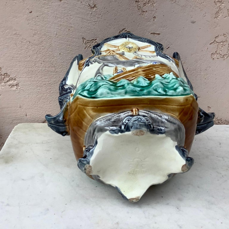 Late 19th Century Majolica Nautical Planter Onnaing, circa 1880 For Sale