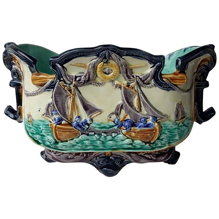 Majolica Nautical Planter Onnaing, circa 1880 For Sale 1