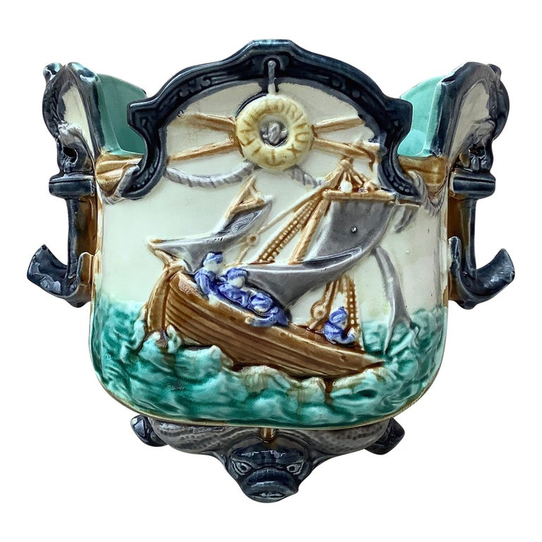 Majolica Nautical Planter Onnaing, circa 1880 For Sale