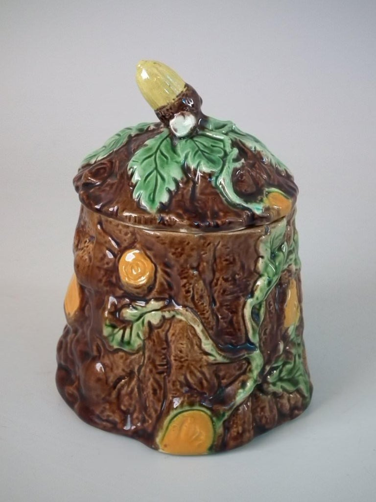 Majolica Oak and Acorn Pot and Cover For Sale 1