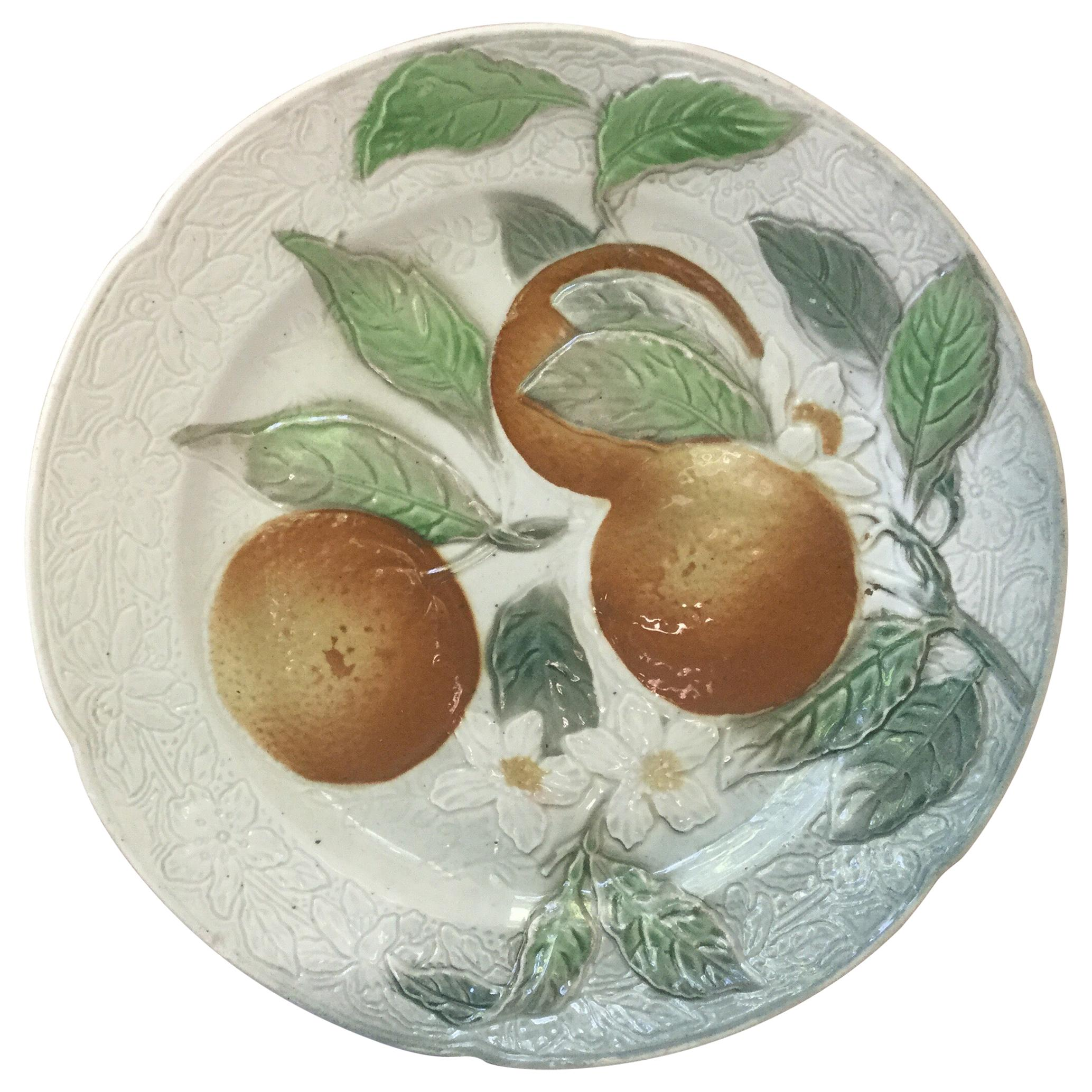 Majolica Oranges Plate Keller & Guerin Saint Clement