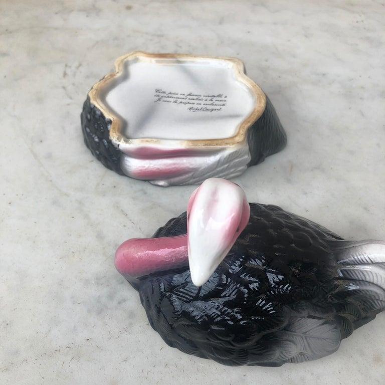 Ceramic Majolica Ostrich Tureen Caugant For Sale