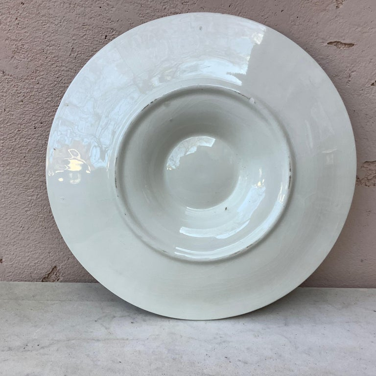 French Majolica Oyster Plate Longchamp, circa 1930 For Sale