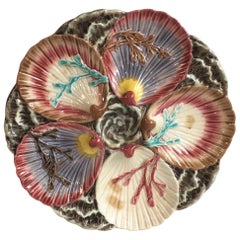Majolica Oyster Plate Wedgwood with Seaweeds, circa 1880