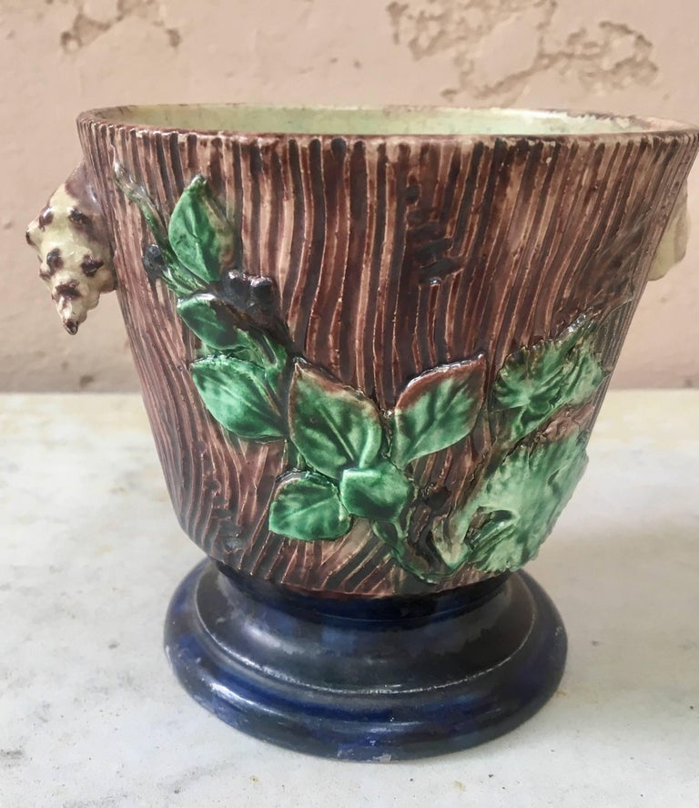 Country Majolica Palissy Cachepot, Thomas Sergent, circa 1880 For Sale