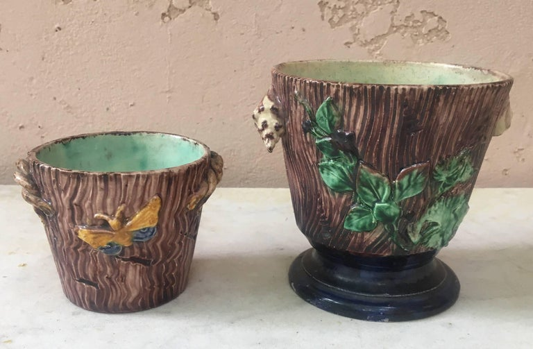 Majolica Palissy Cachepot, Thomas Sergent, circa 1880 In Good Condition For Sale In The Hills, TX