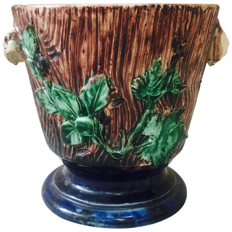 Majolica Palissy Cachepot, Thomas Sergent, circa 1880 For Sale