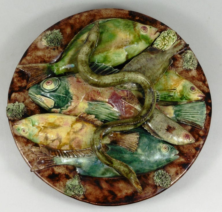 Majolica Palissy Fishs Wall Pocket Fives Lille, circa 1880 For Sale 5