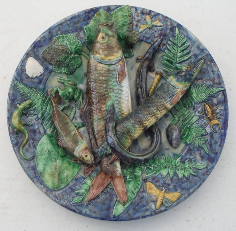 Majolica Palissy Fishs Wall Pocket Fives Lille, circa 1880 For Sale 6