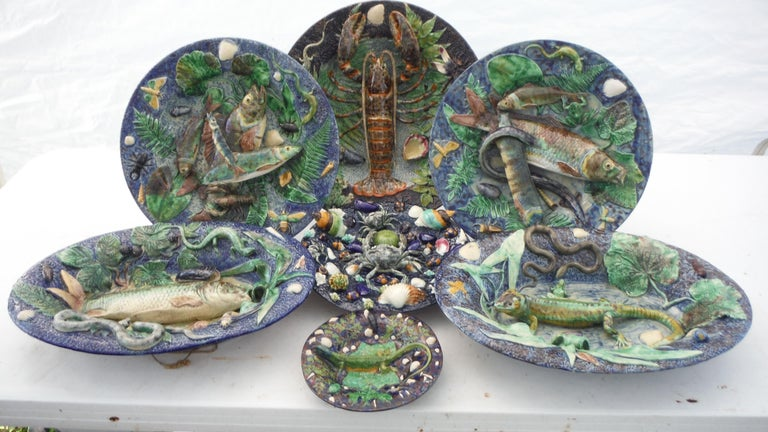 Majolica Palissy Fishs Wall Pocket Fives Lille, circa 1880 For Sale 7
