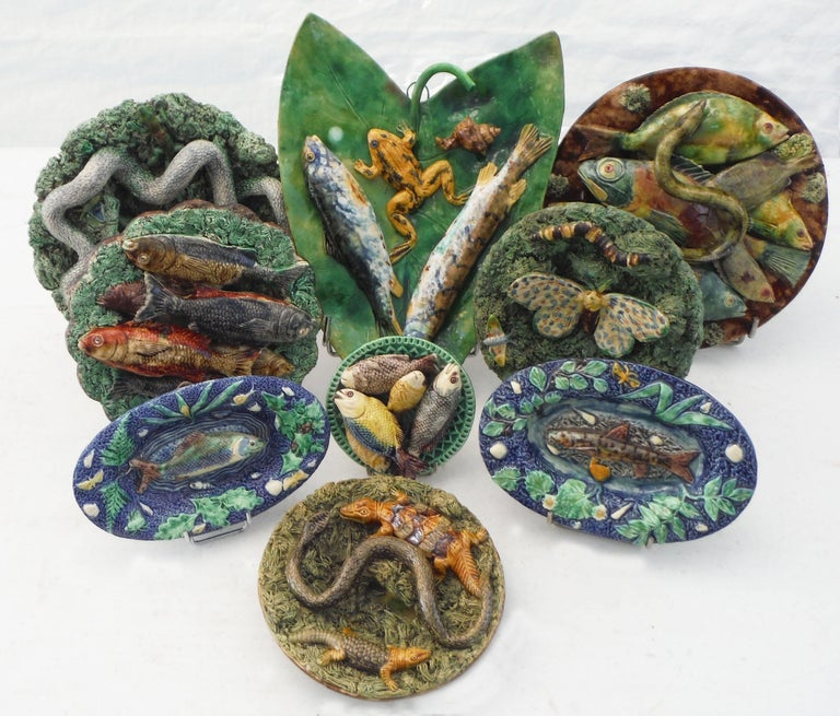 Majolica Palissy Fishs Wall Pocket Fives Lille, circa 1880 For Sale 8