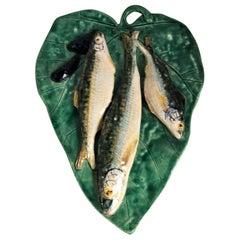 Majolica Palissy Fishs Wall Renoleau Platter, circa 1880