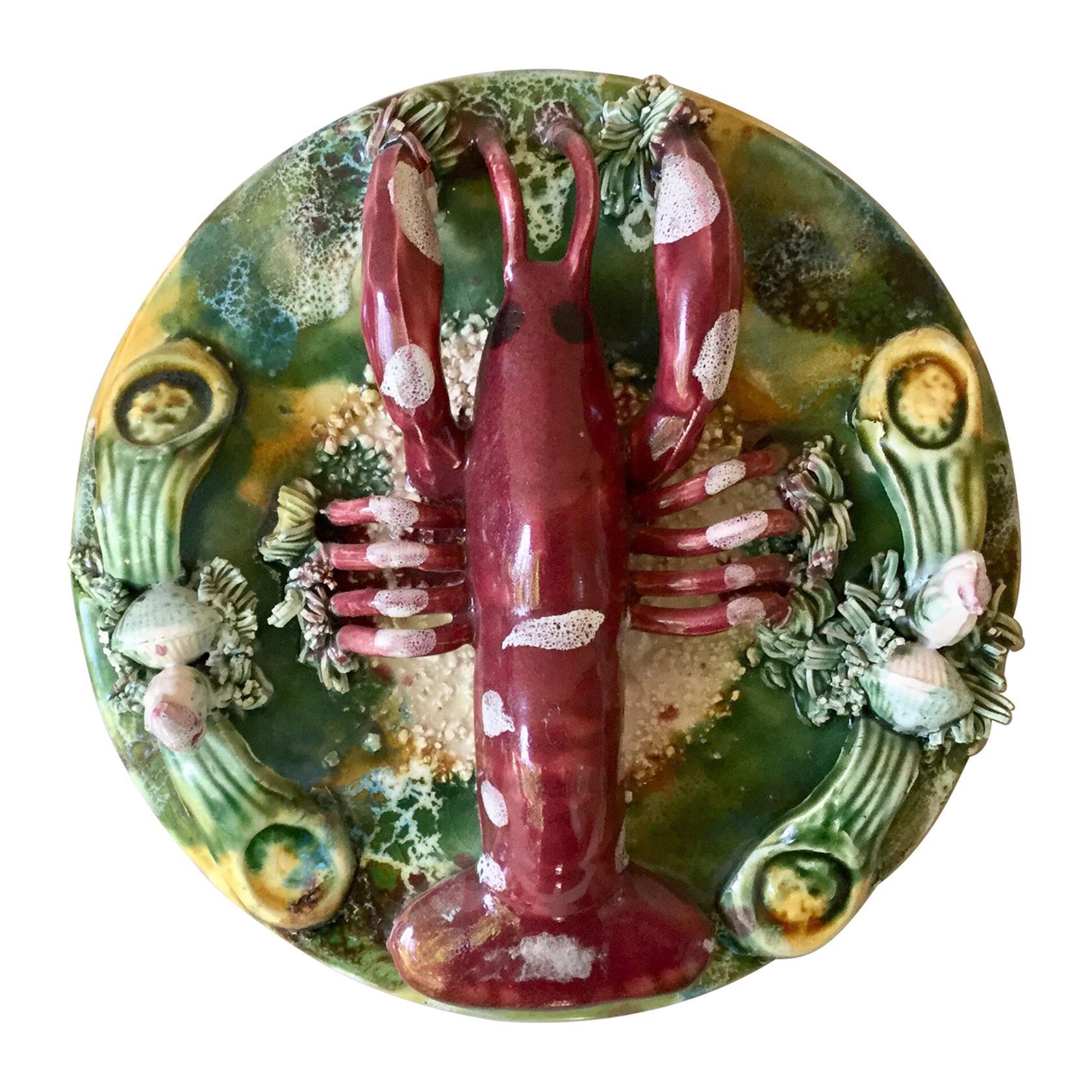 Majolica Palissy Lobster Platter, circa 1950