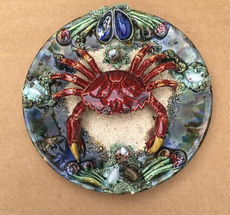 Majolica faience Palissy Portuguese crab platter, circa 1940. Decorated with mussels and shells, Signed Caldas da Rainha. Nautical.