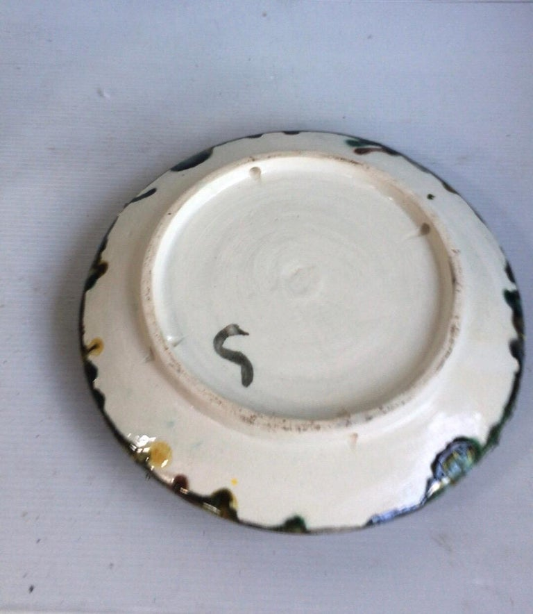 Ceramic Majolica Palissy Portuguese Crab Wall Platter, circa 1940 For Sale