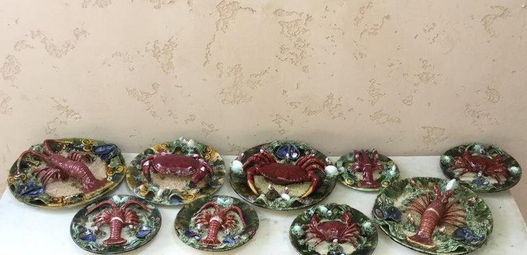 Majolica Palissy Portuguese Crab Wall Platter, circa 1940 For Sale 1