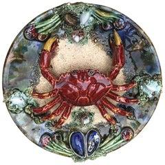 Majolica Palissy Portuguese Crab Wall Platter, circa 1940