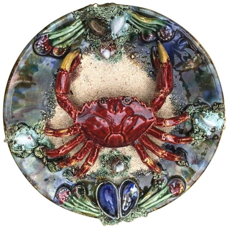 Majolica Palissy Portuguese Crab Wall Platter, circa 1940 For Sale