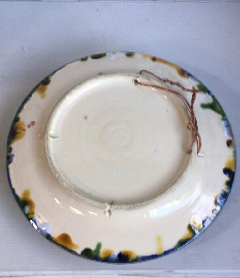 Faience Majolica Palissy Portuguese Spider Crab Wall Platter, circa 1940 For Sale