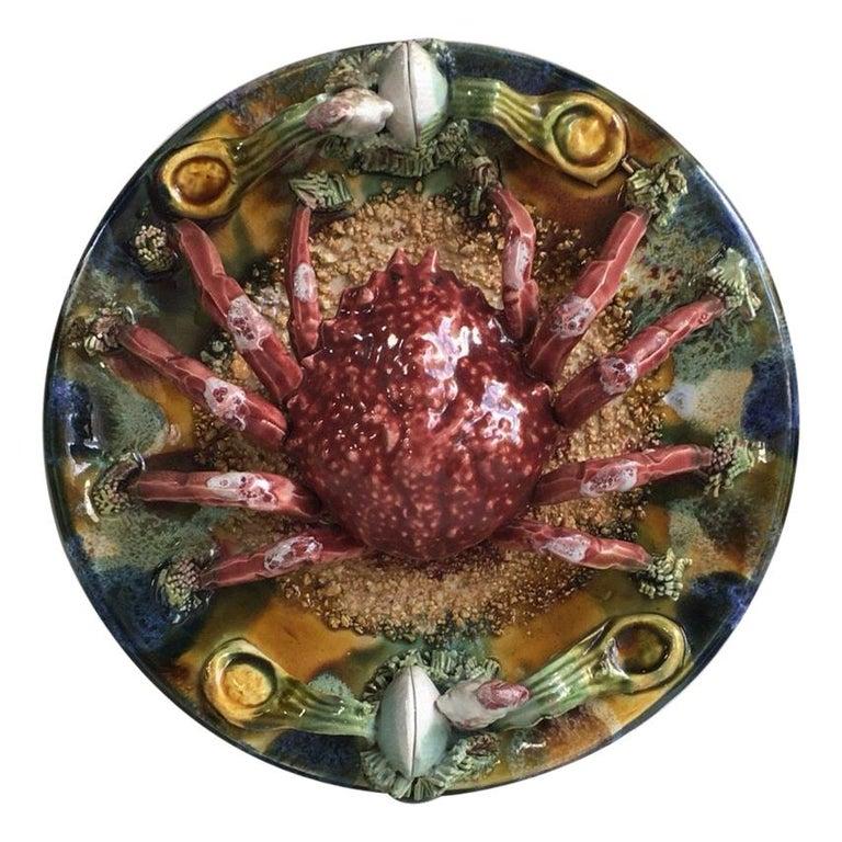 Majolica Palissy Portuguese Spider Crab Wall Platter, circa 1940 For Sale