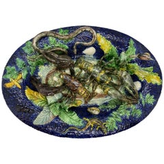 Majolica Palissy Ware Plaque, Victor Benizet, Lobsters Cobalt Blue French
