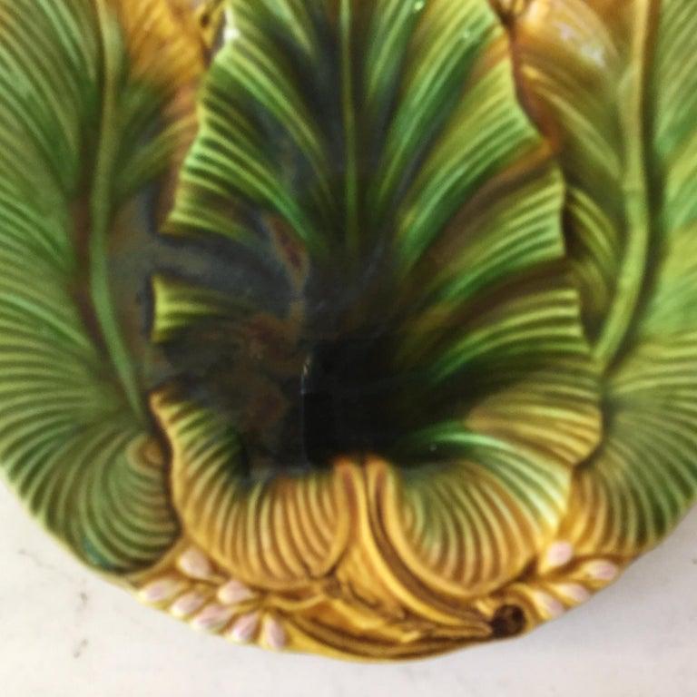 Art Nouveau Majolica Palm Leaf Plate Villeroy & Boch, circa 1890 For Sale
