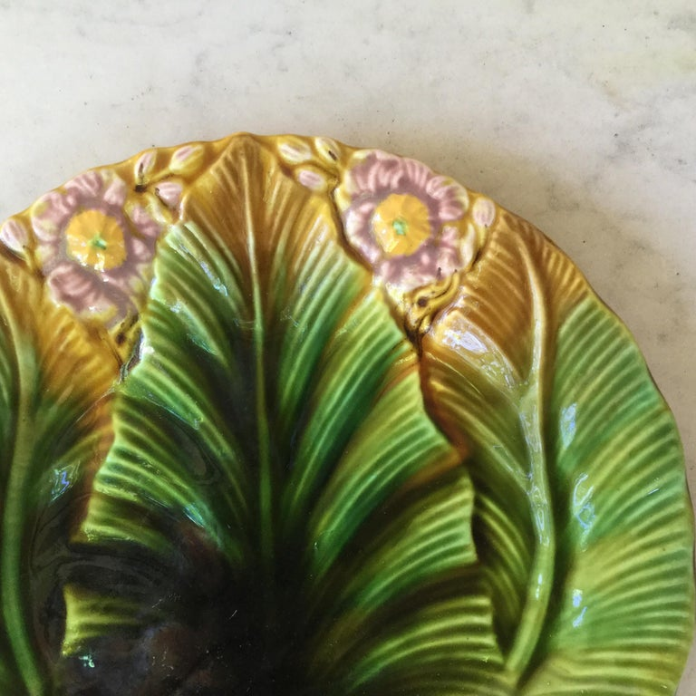 French Majolica Palm Leaf Plate Villeroy & Boch, circa 1890 For Sale