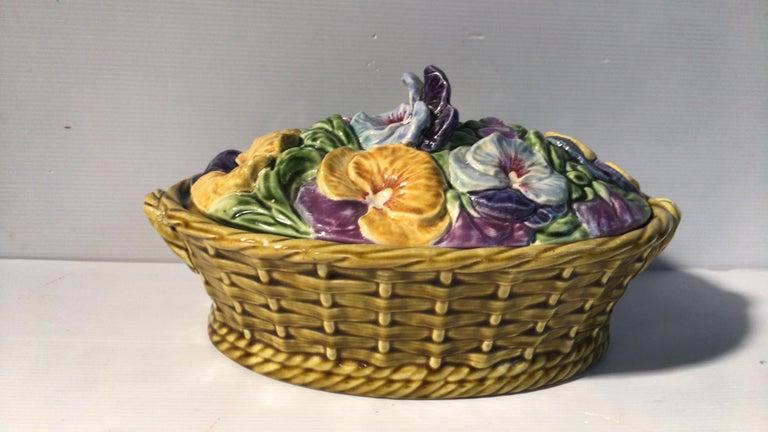 Art Nouveau Majolica Pansies Basket Sarreguemines, circa 1920
