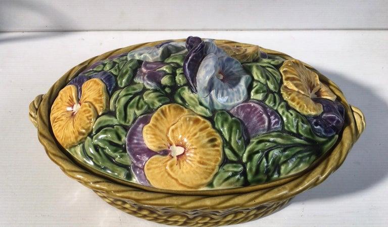 French Majolica Pansies Basket Sarreguemines, circa 1920