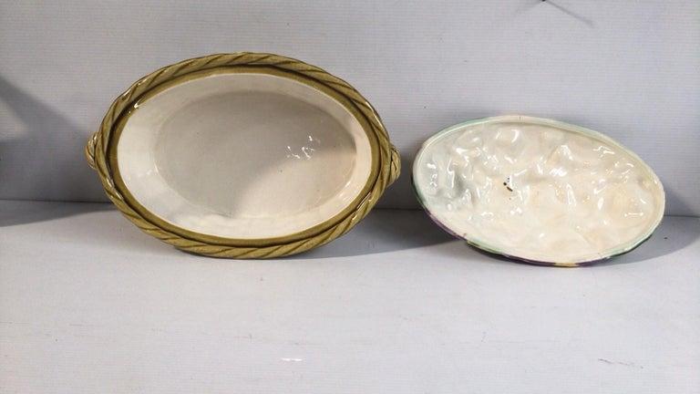 Ceramic Majolica Pansies Basket Sarreguemines, circa 1920
