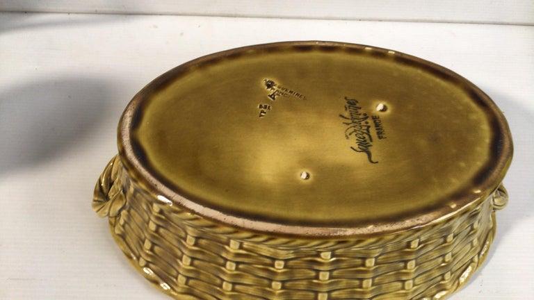Majolica Pansies Basket Sarreguemines, circa 1920 1