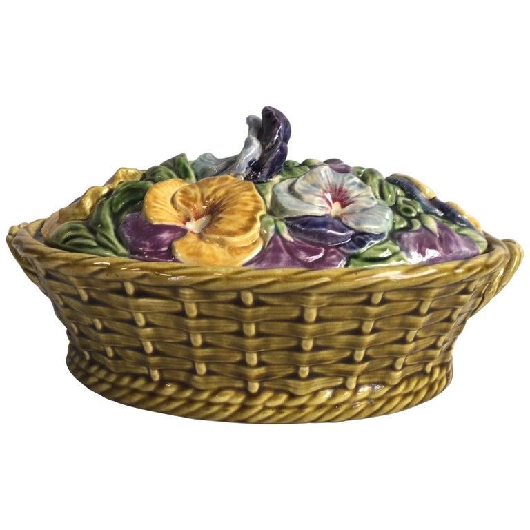 Majolica Pansies Basket Sarreguemines, circa 1920