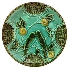 Majolica Parakeets Plate Salins, circa 1890