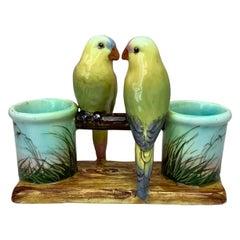 Majolica Parrots Double Vase Delphin Massier, circa 1890