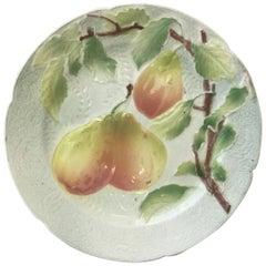 Majolica Pears Plate Keller & Guerin Saint Clement