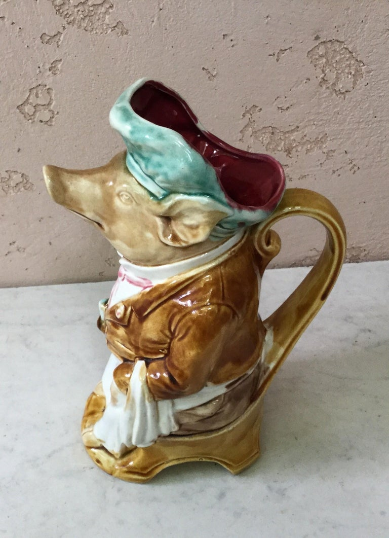 French Majolica Pig Waiter Pitcher Onnaing, circa 1900 For Sale