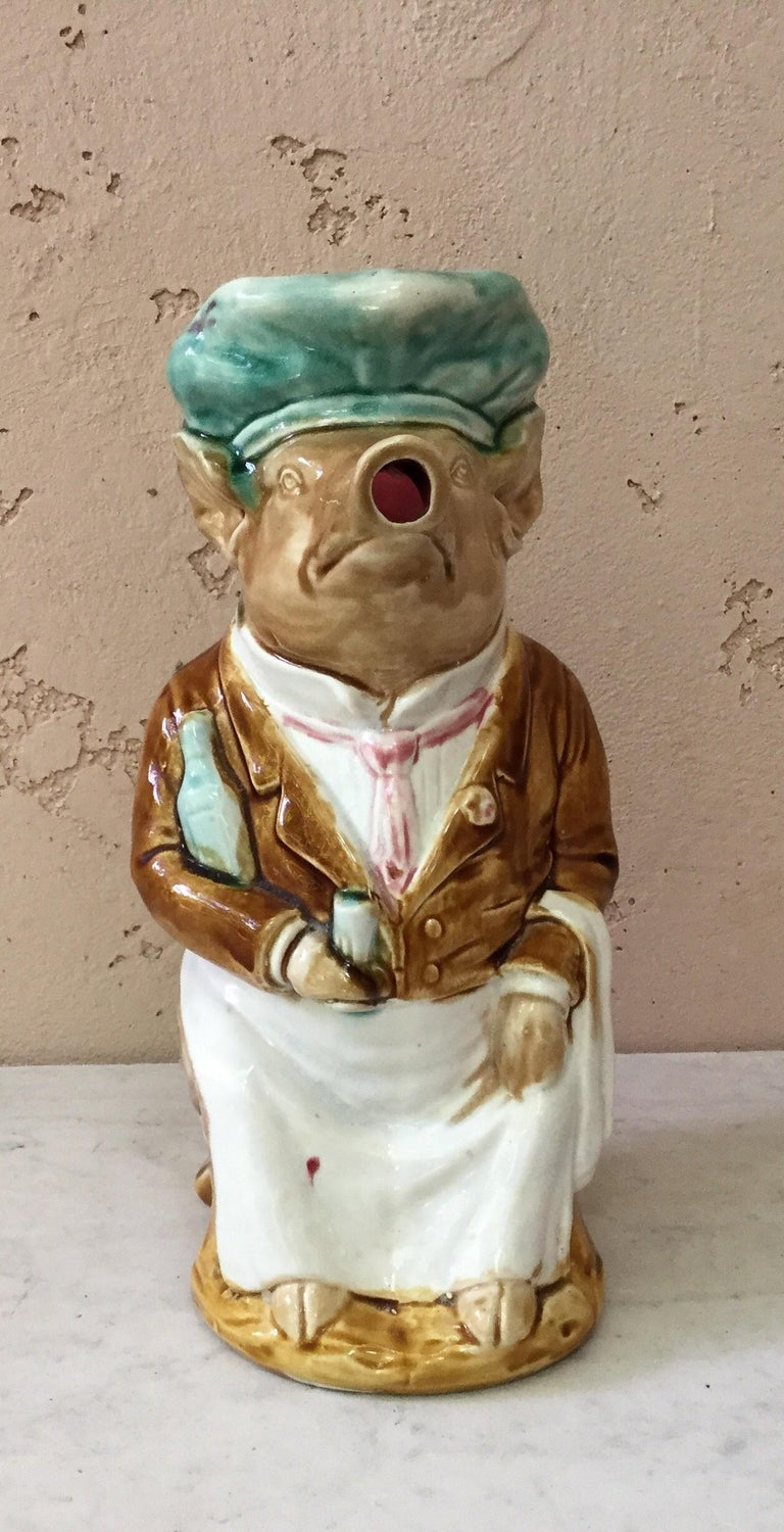 Majolica Pig Waiter Pitcher Onnaing, circa 1900 In Good Condition For Sale In The Hills, TX