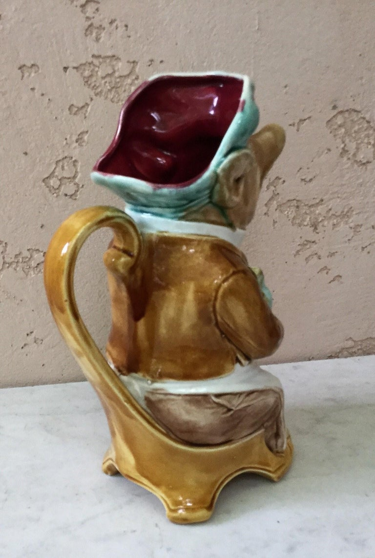 Early 20th Century Majolica Pig Waiter Pitcher Onnaing, circa 1900 For Sale
