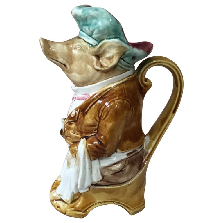 Majolica Pig Waiter Pitcher Onnaing, circa 1900 For Sale