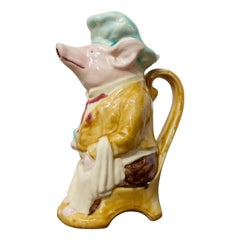 Majolica Pig Waiter Pitcher Onnaing Style, Early 20th Century
