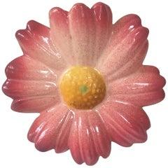 Majolica Pink Daisy Wall Pocket Jerome Massier Fils, circa 1900