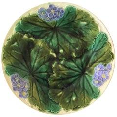 Majolica Purple Flowers Plate Clairefontaine, circa 1890