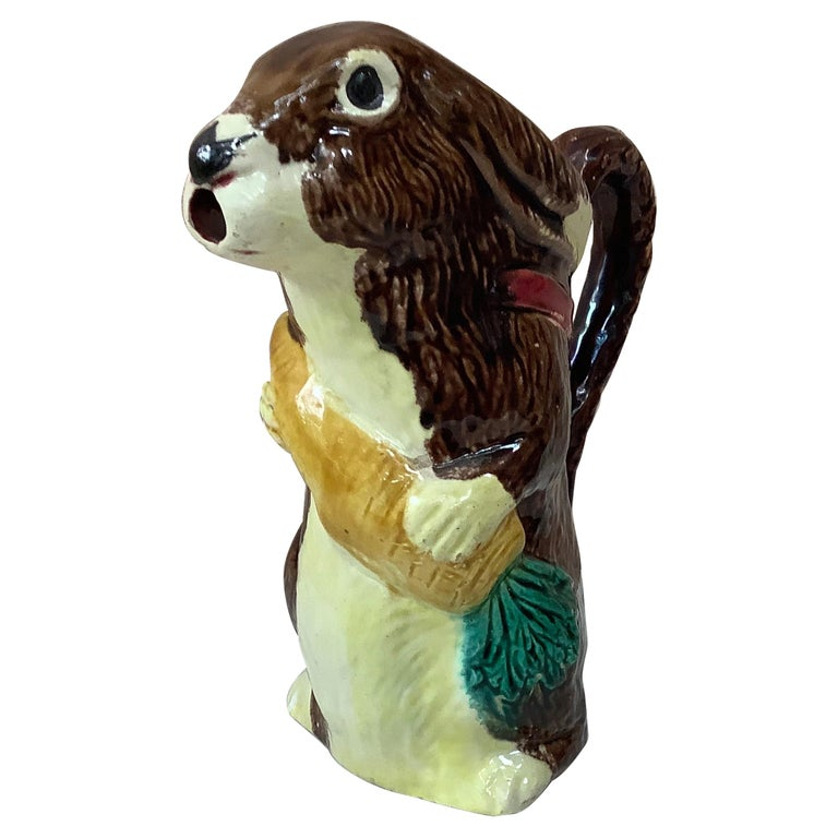 Majolica Rabbit with Carrot Pitcher Orchies, circa 1890 For Sale