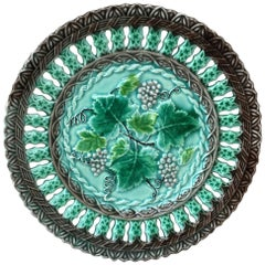 Majolica Reticulated Grape Plate Villeroy & Boch, circa 1890