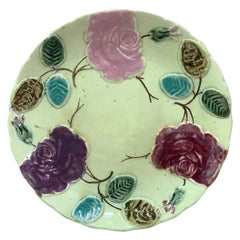 Majolica Roses Plate Saint Amand, circa 1890
