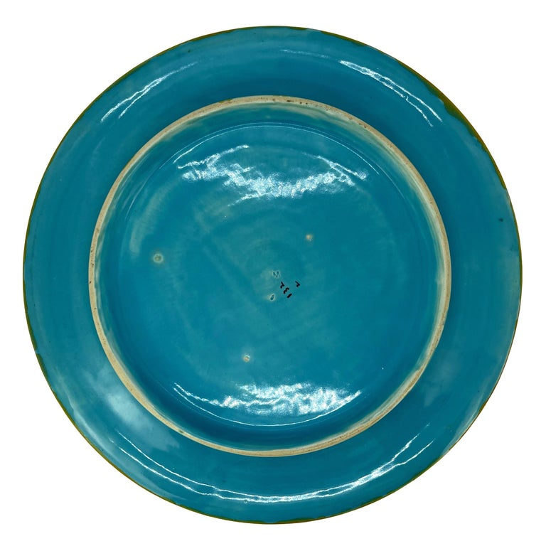 Majolica Round Bread Platter with Mottled Center and Wheat, English, circa 1875 For Sale 1