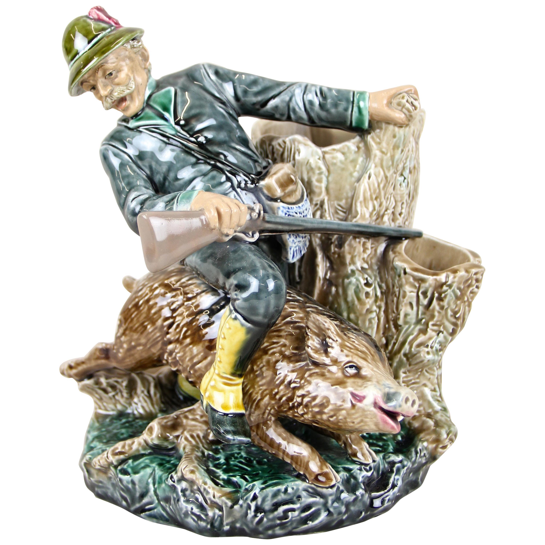 "Majolica Sculpture ""Emperor Franz Joseph on Wild Boar"" by B. Bloch, CZ"