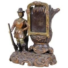 Majolica Sculpture Vase with Photo Frame by J. Maresch, Austria, circa 1880