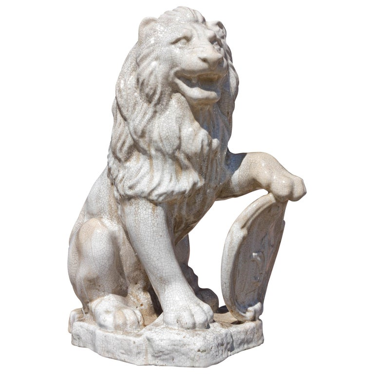 Majolica Seated Garden Lion Sculpture with Heraldic Shield For Sale