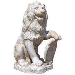 Majolica Seated Garden Lion Sculpture with Heraldic Shield